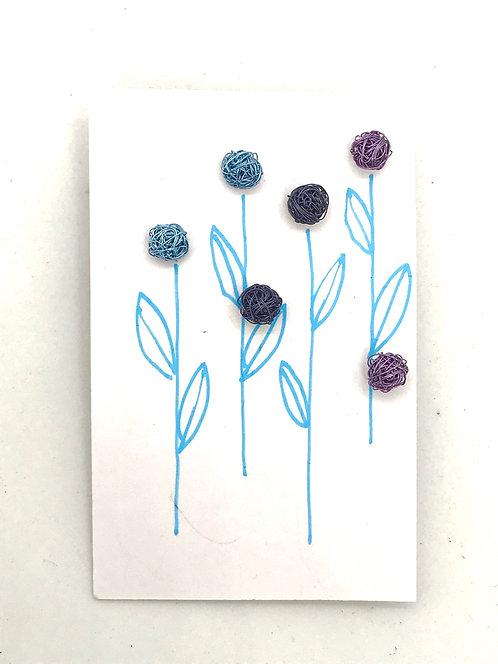 Jo Dewar light blue, dark blue and violet stud earrings