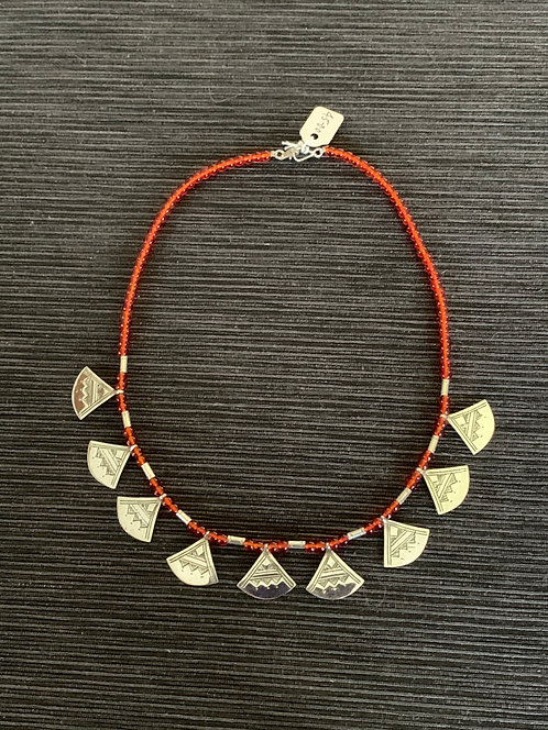 """Jump4Timbuktu silver and orange glass bead """"chatchat""""necklace"""