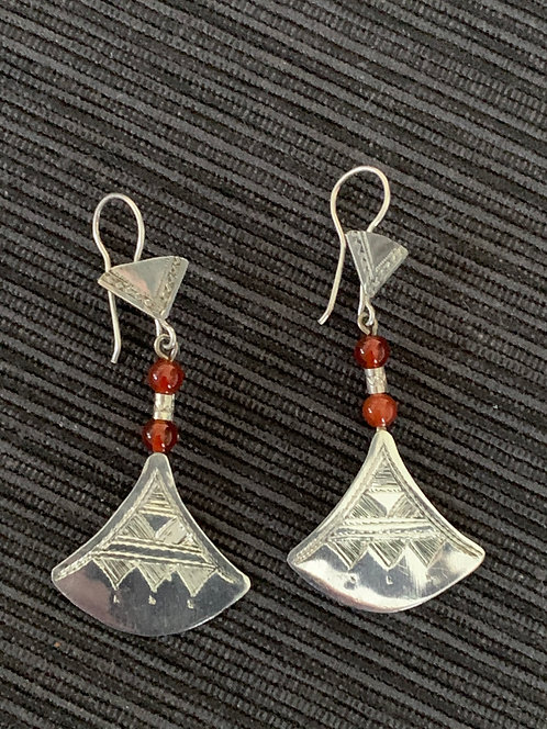 Jump4Timbuktu orange bead and silver chat-chat earrings