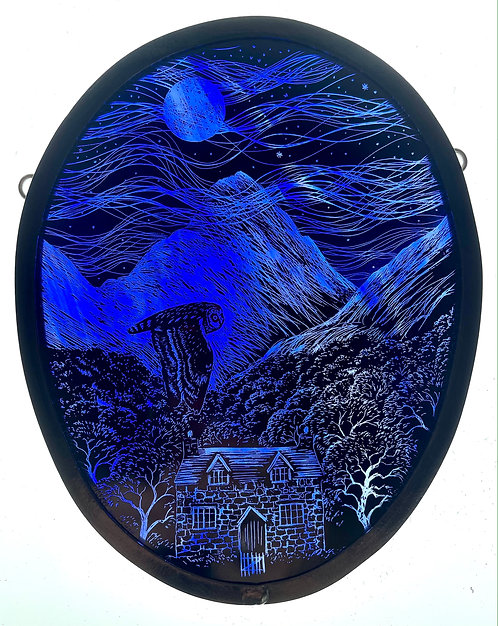 """Tamsin Abbott stained glass panel """" In the Misty Mountains"""""""
