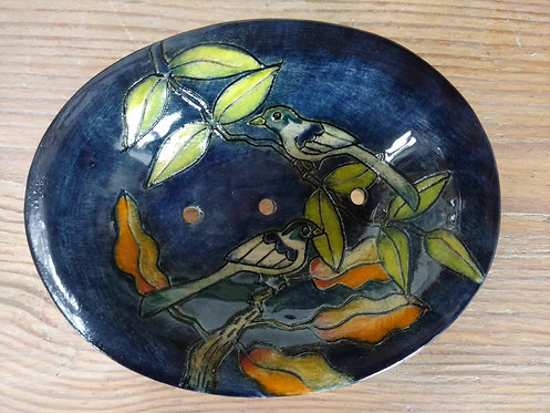 Jeanne Jackson ceramic soap dish blue birds(no. 32)