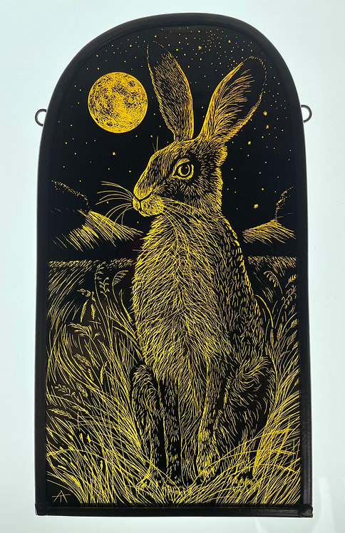"""Tamsin Abbott stained glass panel """" Midsummer Moon Hare"""""""