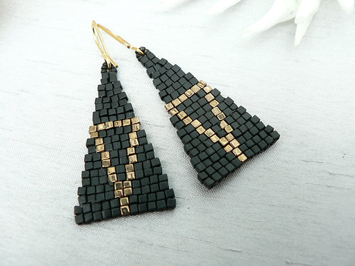 Sam Hemming black & gold glass cube bead earrings