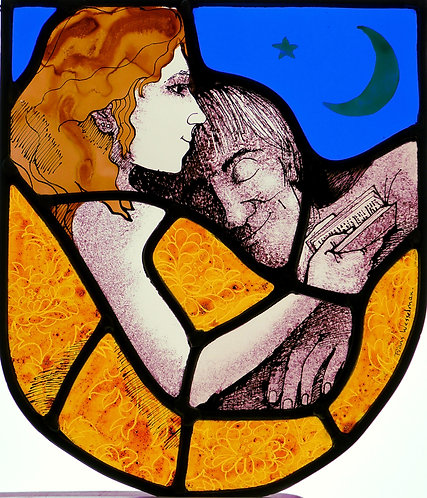 "Frans Wesselman ""Reading in Bed"" stained glass panel"