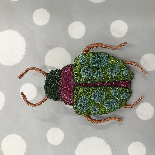 Jo Dewar pale blue spotted beetle brooch