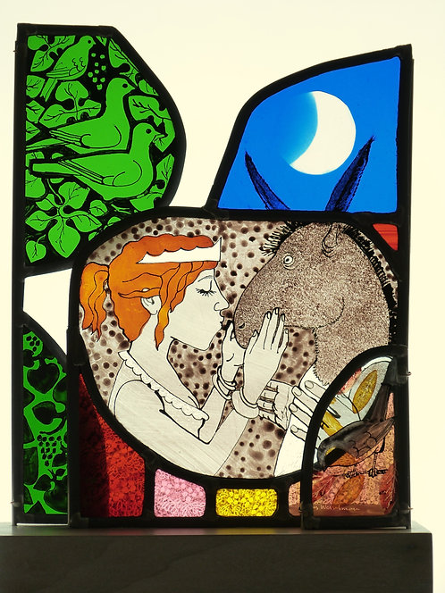 "Frans Wesselman "" Midsummer Night ""stained glass panel"
