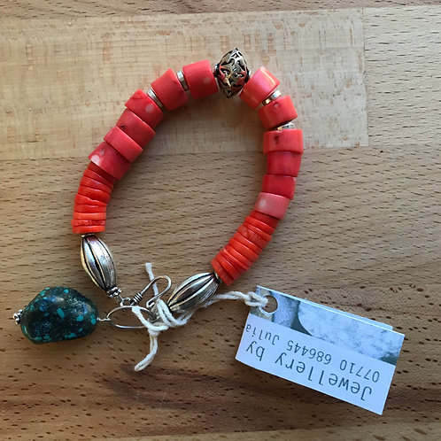 Julia Mathias coral bracelet with turquoise
