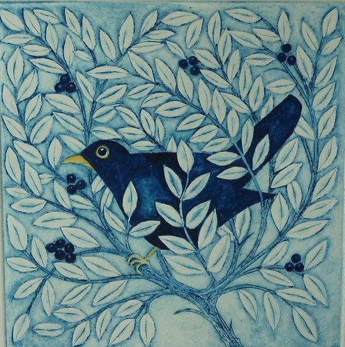 Victoria Keeble 'Bird in a Bush' collagraph