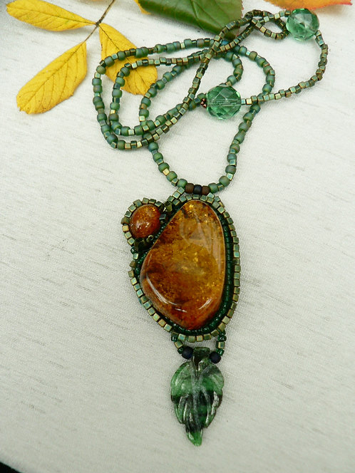 Sam Hemming amber and ruby zoisite pendant necklace