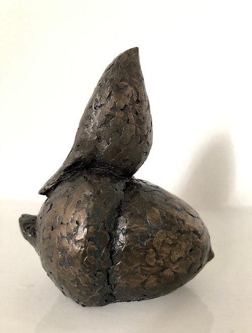 Caro Burberry bronze resin sculpture 'Bird on Acorn'