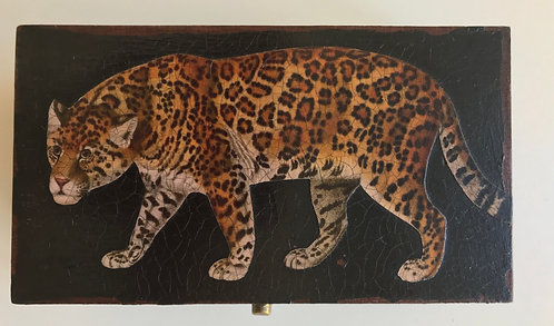 Jo Verity large leopard decoupage box
