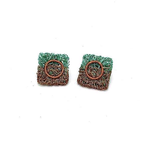Jo Dewar aqua/gunmetal square stud earrings