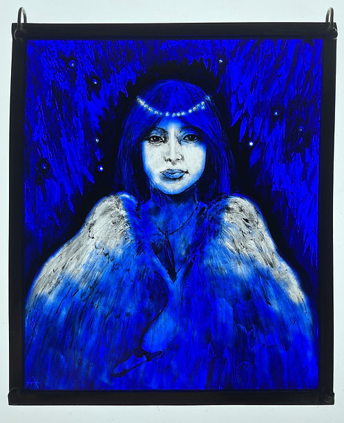 """Tamsin Abbott stained glass panel """" Swan Maiden"""""""
