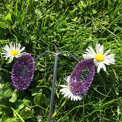 Jo Dewar oval mesh earrings lilac