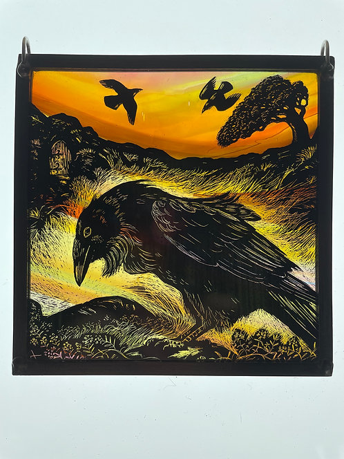 """Tamsin Abbott stained glass panel """"Canny Raven"""""""