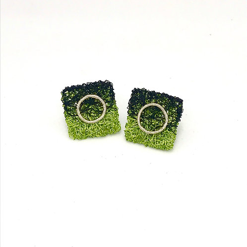 Jo Dewar lime/black square stud earrings with silver circle