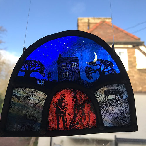 "Tamsin Abbott "" New Moon Bonfire"" glass panel"