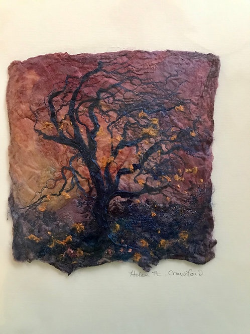 "Helen Crawford textile original "" Sunset with Thorn Tree"""