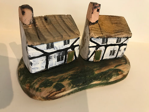 Stephen Hawkesworth driftwood Tudor cottages