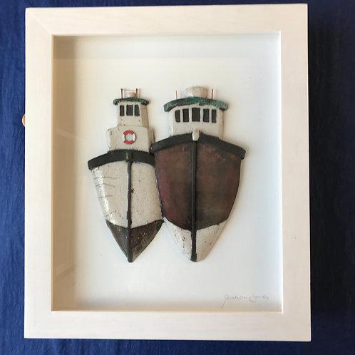 Goodwin Jones framed ceramic boats 'William and Mary'