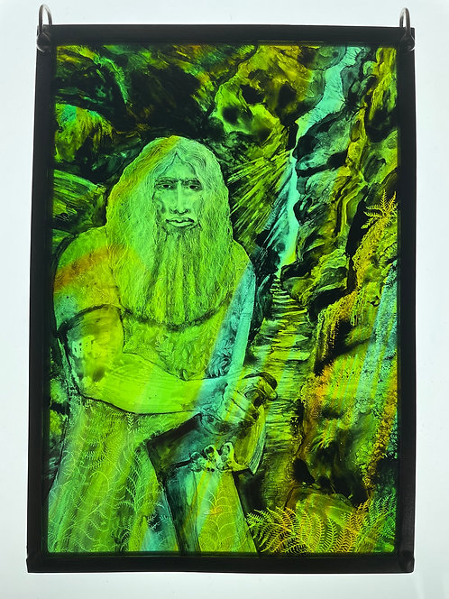 """Tamsin Abbott stained glass """" Green Man"""""""