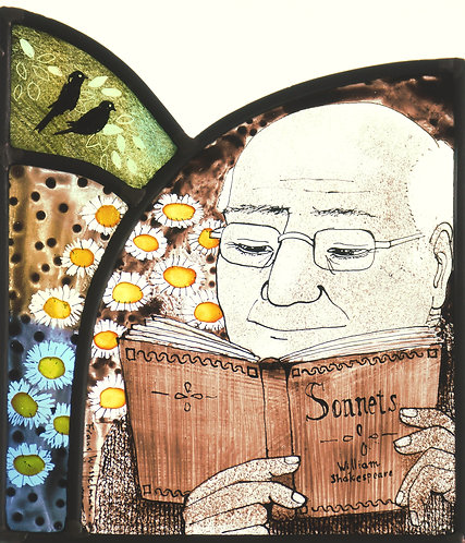 """Frans Wesselman """"Reader II"""" stained glass panel"""