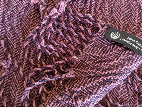 Jane Stockley 'Plum Orchard' shadow weave scarf