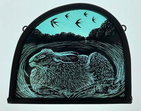 Tamsin Abbott stained glass panel : 'In The Heat of the Day'