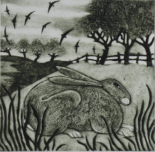 "Victoria Keeble ""Hunkering Hare"" collagraph"