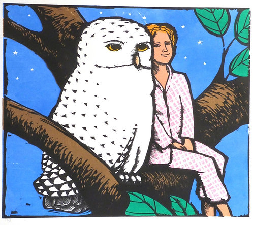 "Frans Wesselman woodcut "" Owl III"""
