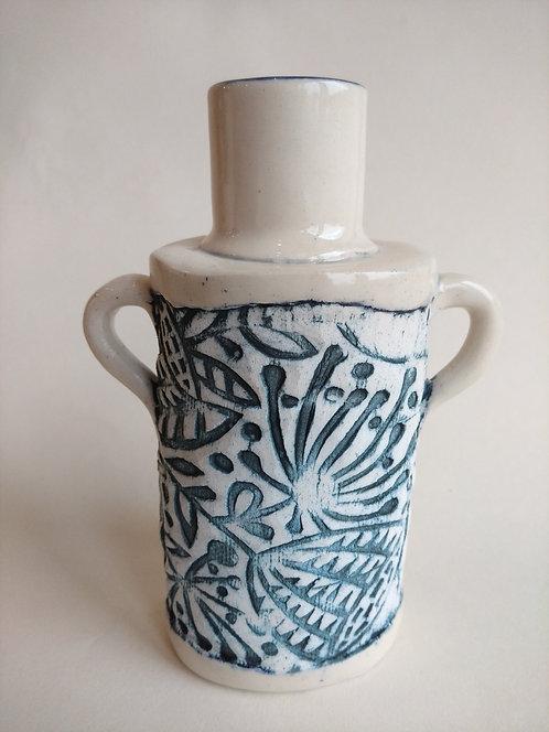 Jeanne Jackson blue textured bottle vase