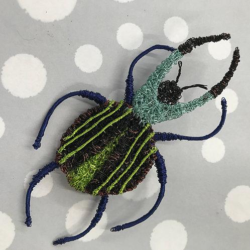 Jo Dewar blue/lime /brown stag beetle brooch
