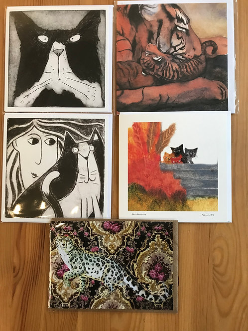Pack of 5 cat cards