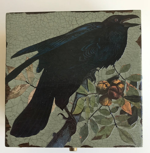 Jo Verity decoupage Crow in the Wood box