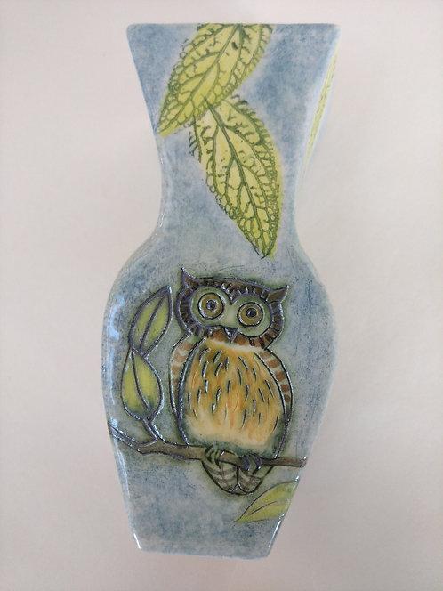 Jeanne Jackson owl & blue tit vase