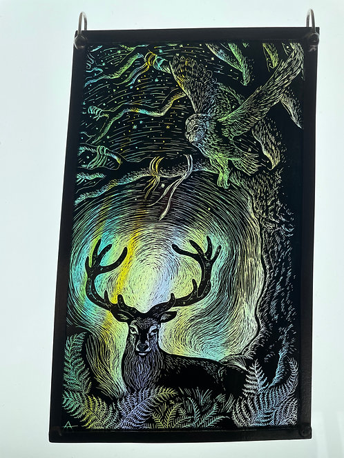 """Tamsin Abbott stained glass panel """" Summer Solstice Stag"""""""