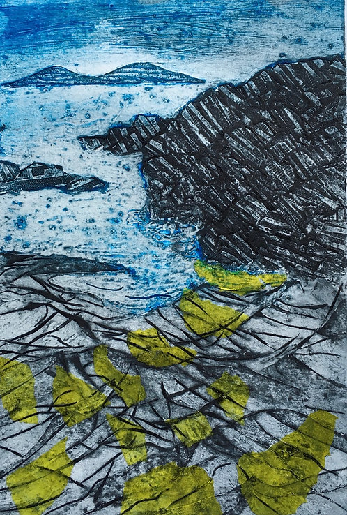 "Annabelle Oppenheimer ""North of Saligo Bay"" collagraph"