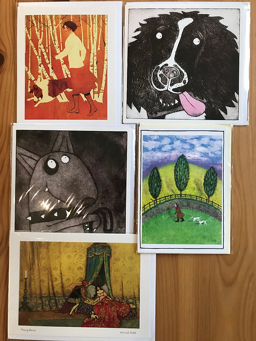 Pack of 5 dog cards