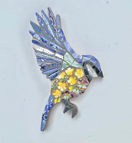 Emily Lawlor vintage china mosaic fledgling bluetit 'Primrose'