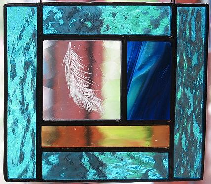 """Amanda Rawling """" Floating Feather"""" glass panel"""