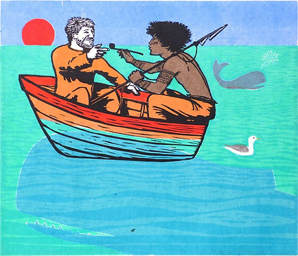 "Frans Wesselman woodcut "" Melville Goes Fishing"""