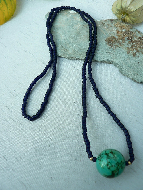 Sam Hemmingnavy blue bead and large turquoise bead necklace