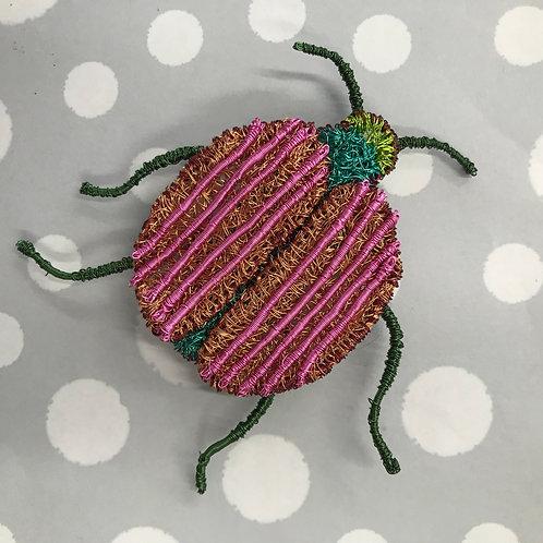Jo Dewar pink/bronze  round beetle brooch