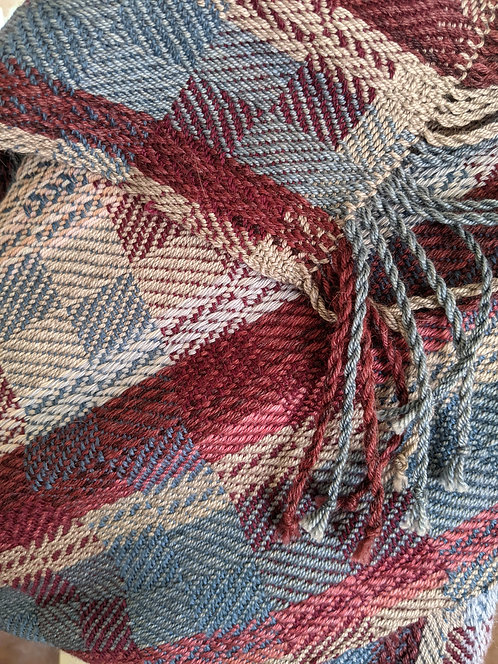 """Jane Stockley handwoven shawl""""late summer fruits"""""""