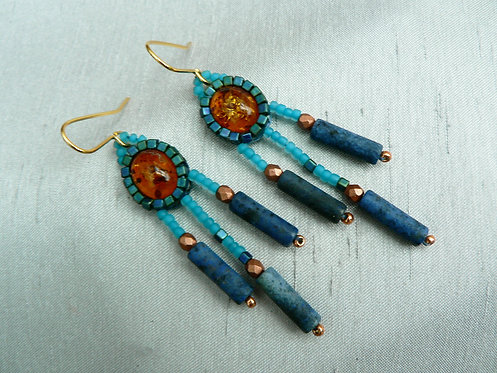 Sam Hemming oval amber with lapis lazuli earrings