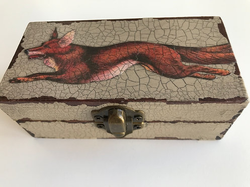 Jo Verity Running Fox Decoupage Box