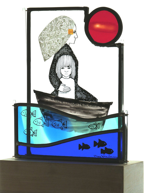 "Frans Wesselman ""Voyage"" stained glass on plinth"