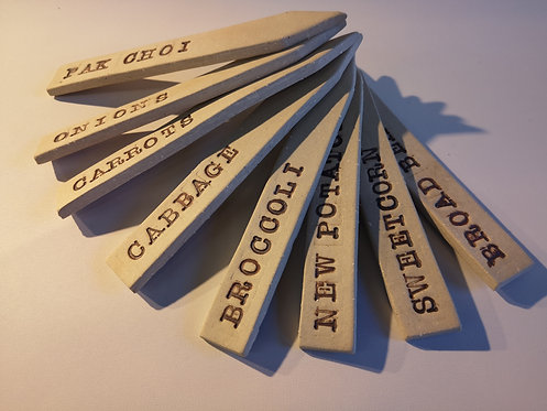 Carey Moon set of stoneware veg labels