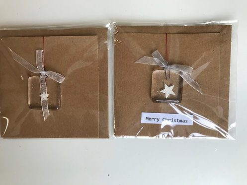 Lorna Prudden 2 glass square decorations- star