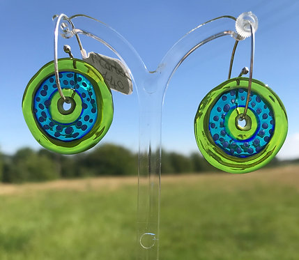Penny Carter Pippin glass earrings-lime/blue